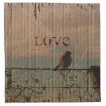rustic vintage farm fence bird country wedding printed napkin