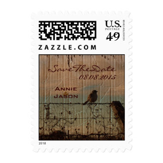 Rustic vintage farm fence country wedding postage