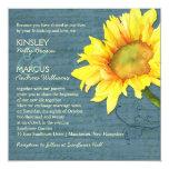Rustic Vintage Feel Sunflower Wedding Invitations