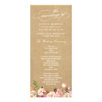 Rustic Vintage Floral Kraft | Wedding Program