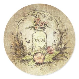 Rustic Vintage Floral Mason Jar Wedding Classic Round Sticker