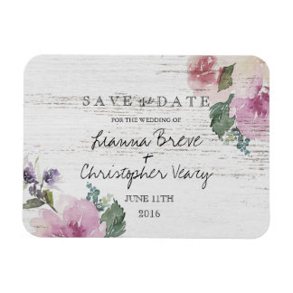Rustic Vintage Floral Wood Wedding Save The Date Magnet