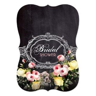 rustic  vintage flowers Chalkboard bridal shower 5x7 Paper Invitation Card