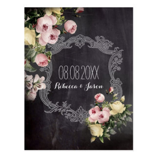 rustic vintage flowers Chalkboard save the date Postcard