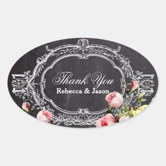 rustic  vintage flowers Chalkboard thank you Oval Sticker