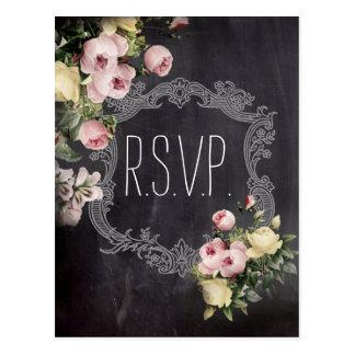 rustic vintage flowers Chalkboard wedding rsvp Postcard