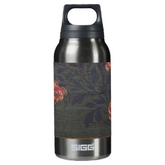 Rustic vintage flowers insulated water bottle