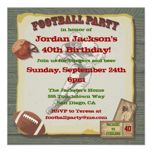 Rustic Vintage Football Party Invitations