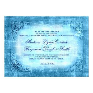 Rustic Vintage Frame Blue Wedding Invitations