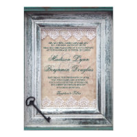 Rustic Vintage Frame Lace Key Aqua Wedding Invites