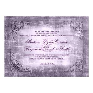 Rustic Vintage Frame Purple Wedding Invitations
