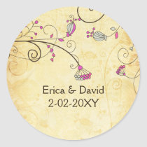 rustic vintage fuchsia floral envelope stickers