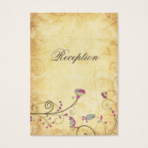 rustic vintage fuchsia floral  Reception Cards