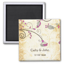 rustic vintage fuchsia floral save the date magnet