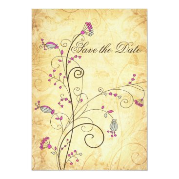 rustic vintage fuchsia floral Save the dates Card