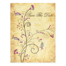 rustic vintage fuchsia floral Save the dates Postcard