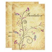 rustic vintage fuchsia floral wedding invites