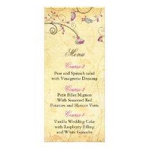 rustic vintage fuchsia floral wedding menu cards