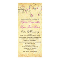 rustic vintage fuchsia floral wedding program