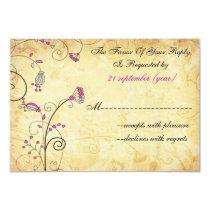 rustic vintage fuchsia floral wedding rsvp 3.5 x 5 card