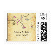 rustic vintage fuchsia floral  wedding stamps
