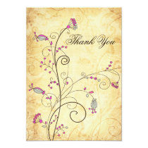 rustic vintage fuchsia floral wedding Thank You Card