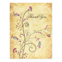 rustic vintage fuchsia floral wedding Thank You Postcard