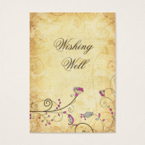 rustic vintage fuchsia floral  wishing well cards