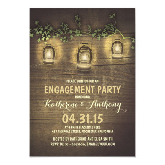 rustic vintage garden lights wood engagement party card