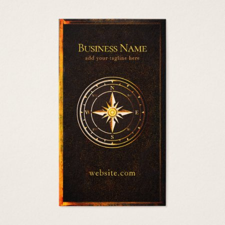 Rusty Gold Frame and Nautical Compass Vintage Boating Business Cards