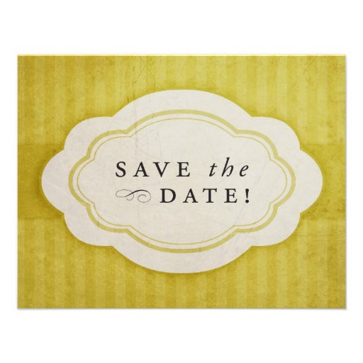 Rustic Vintage Golden Yellow Save the Dates Personalized Invitations