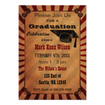 Rustic Vintage Graduation Party Invitations