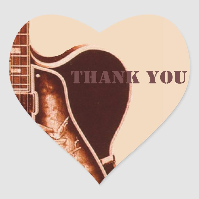 rustic vintage Guitar Western Country Wedding Heart Sticker