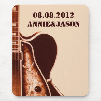 rustic vintage Guitar Western Country Wedding Mouse Pad
