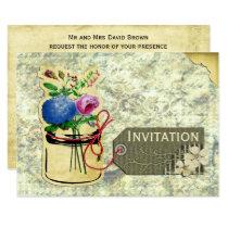 rustic vintage hydrangea roses mason jar invites