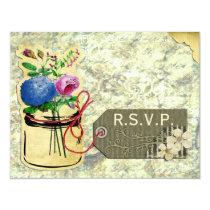 rustic vintage hydrangea roses mason jar rsvp card