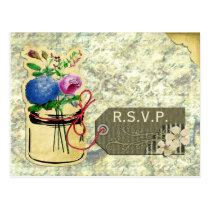 rustic vintage hydrangea roses mason jar rsvp postcard
