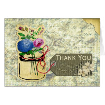 rustic vintage hydrangea roses mason jar thank you card