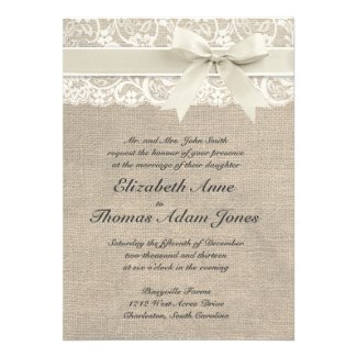 Burlap and Lace themed wedding collection in ivory, black, coral, plum, red and royal blue