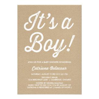 RUSTIC VINTAGE   IT'S A BOY BABY SHOWER INVITATION