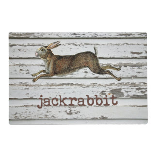 Rustic Vintage Jackrabbit Hare Drawing White Wood Placemat