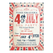 Rustic Vintage July 4th Holiday party Invitation
