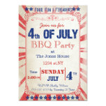 "Rustic Vintage July 4th Holiday party Invitation 5"" X 7"" Invitation Card"