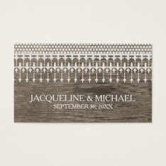 Rustic Vintage Lace Barn Wood Script Typography Business Card at Zazzle