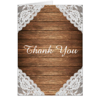 Rustic Vintage Lace Brown Wood Thank You Stationery Note Card