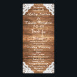 """Rustic Vintage Lace Brown Wood Wedding Programs<br><div class=""""desc"""">Rustic Vintage White Lace Brown Wood wedding invitation collection. Perfect wedding program templates for a rustic and vintage theme marriage celebration with this rustic and vintage stylish wood vintage country or barn party themed featuring an elegant white, ivory floral lace in the corners on a vintage and rustic brown striped...</div>"""