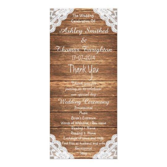 Rustic Vintage Lace Brown Wood Wedding Programs