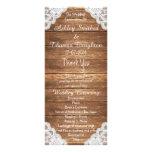Rustic Vintage Lace Brown Wood Wedding Programs Full Color Rack Card
