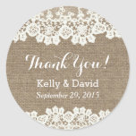 Rustic Vintage Lace & Burlap Wedding Favor Classic Round Sticker at Zazzle