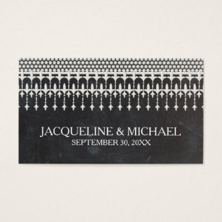 Rustic Vintage Lace Chalkboard Script Typography Business Card